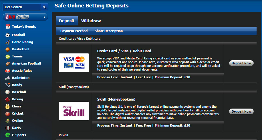 10bet deposit methods
